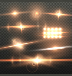 lens flare effect realistic sun flare energy beam vector image