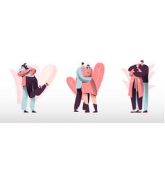 Loving couples set young heterosexual people in vector