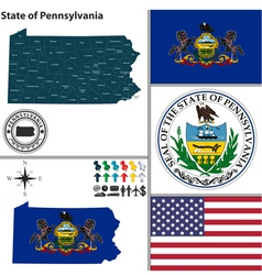 Map of Pennsylvania with seal vector image