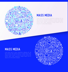Mass media concept in circle with thin line icons vector