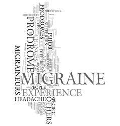 Migraine prodromes text background word cloud vector