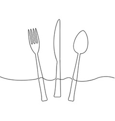 one continuous line cutlery vector image