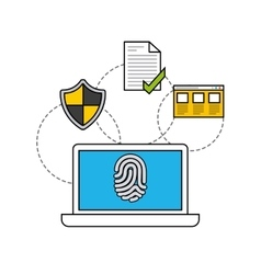 Online security flat line icons vector