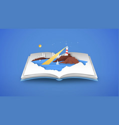 open book 3d papercut beach sea coast vector image