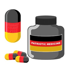 Patriotic medicine Germany Pills with a German vector image