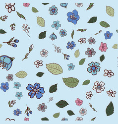 Pattern with multicolored wildflowers vector