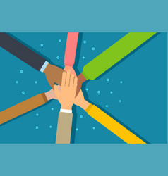 people putting their hands together vector image