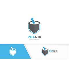 pharmacy and shield logo combination vector image