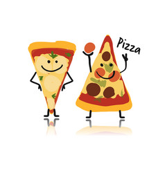 pizza slices character sketch for your design vector image