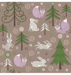 Rabbits and trees print vector