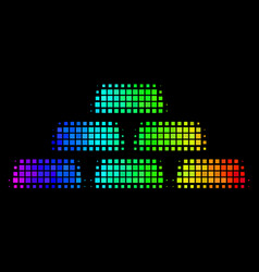 Rainbow dot treasure bricks icon vector