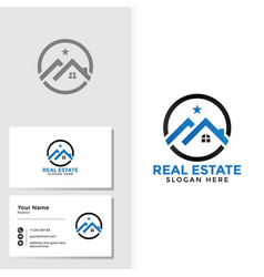 Real estate logo template with business card vector