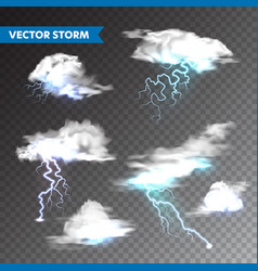 realistic clouds with lightning set on transparent vector image