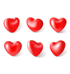 Red 3d hearts valentines day love symbol vector