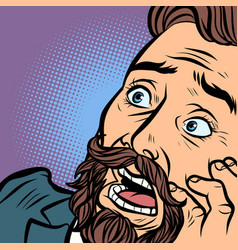 scared bearded hipster man fear and horror face vector image