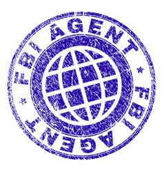 Scratched textured fbi agent stamp seal vector