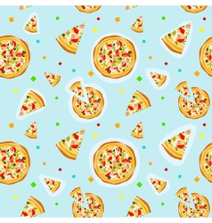 Seamless colorful cartoon pizza texture vector image