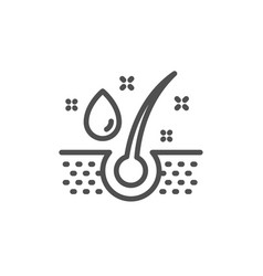 Serum oil drop line icon hair care sign vector