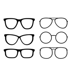 set isolated transparent glasses and sunglasses vector image