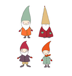 Set of cute cartoon gnomes funny elves isolated vector