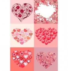 set of different hearts vector image