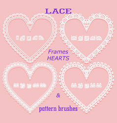 Set of lace frames in the form of a heart and vector