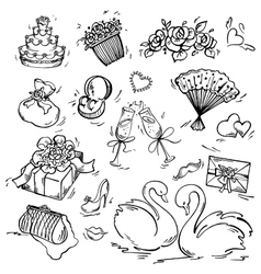 Set of wedding icon vector image