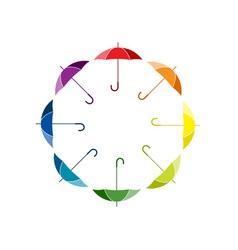silhouettes of umbrellas in rainbow colors vector image