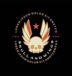 skull wings badge t shirt tee merch logo icon vector image
