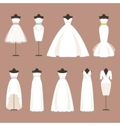 Styles of wedding dresses vector image