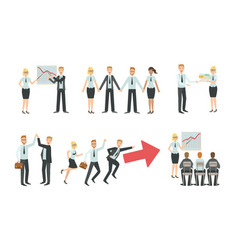 sucessful business people characters working in vector image