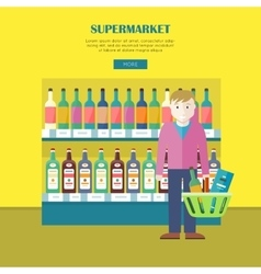 Supermarket Concept Web Banner in Flat Design vector image