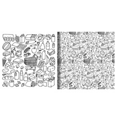 supermarket hand drawn objects set and seamless vector image