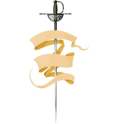 sword and banner vector image