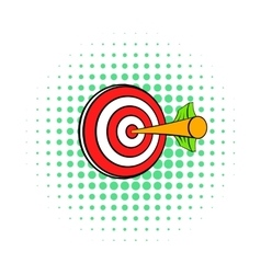 Target with arrow icon comics style vector