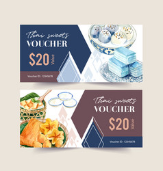 Thai sweet voucher design with layered jelly vector