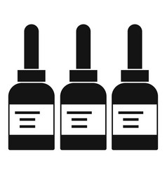 Three tattoo ink bottles icon simple vector