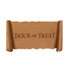 Trick or treat - text on scroll greeting ribbon vector