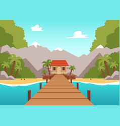 tropical island landscape with wooden bridge vector image