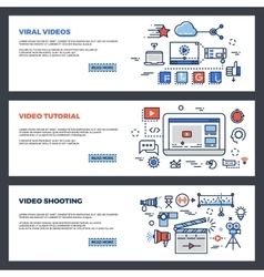 Video and digital marketing web banners set vector image