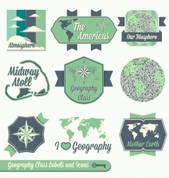 Vintage Geography Class Labels and Icons vector