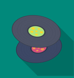 vinyl recordshippy single icon in flat style vector image