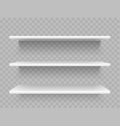 white empty product shelves supermarket display vector image