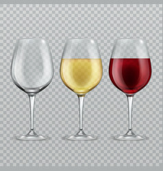 wineglass empty with red and white wine in vector image