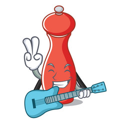 With guitar pepper mill character cartoon vector