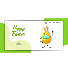 yellow decorated egg with rabbit ears in medical vector image