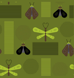 bee and dragonfly geometric pattern vector image