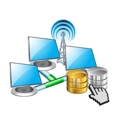 computer networking and data vector image