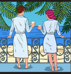 couple drinking coffee at the balcony pop art vector image