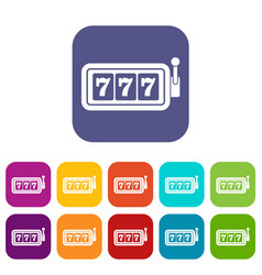 lucky seven on slot machine icons set vector image vector image